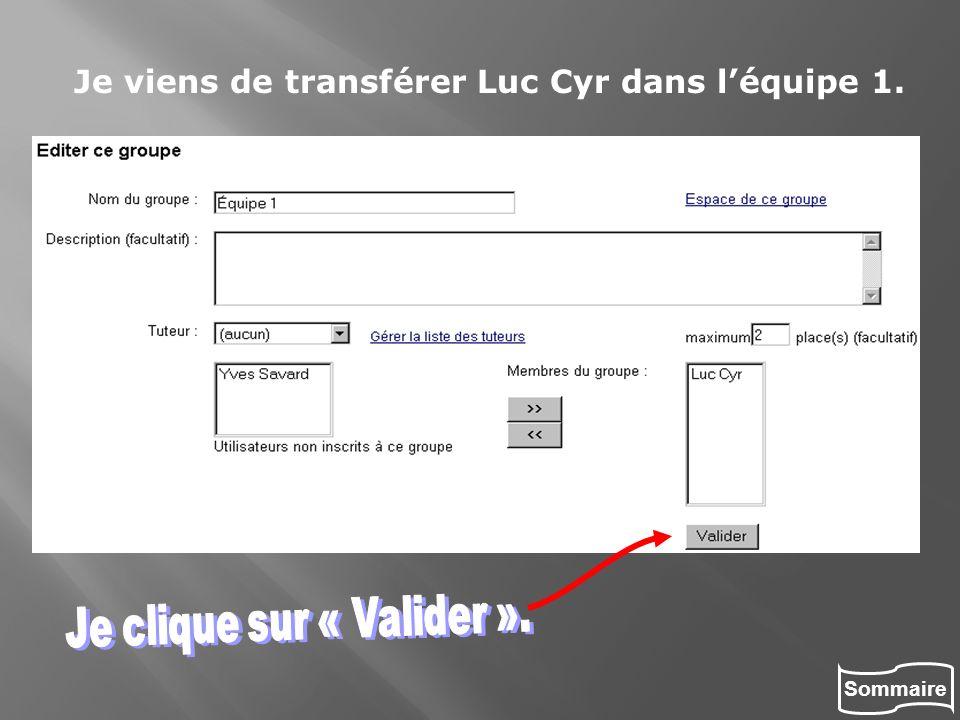 Sommaire Je viens de transférer Luc Cyr dans léquipe 1.