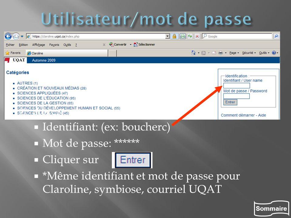Sommaire Accès Identifiant: (ex: boucherc) Mot de passe: ****** Cliquer sur *Même identifiant et mot de passe pour Claroline, symbiose, courriel UQAT
