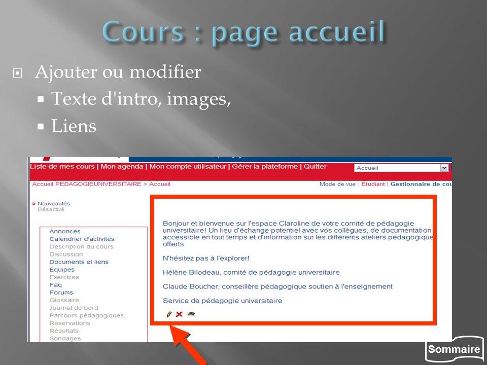 Sommaire Ajouter ou modifier Texte d'intro, images, Liens