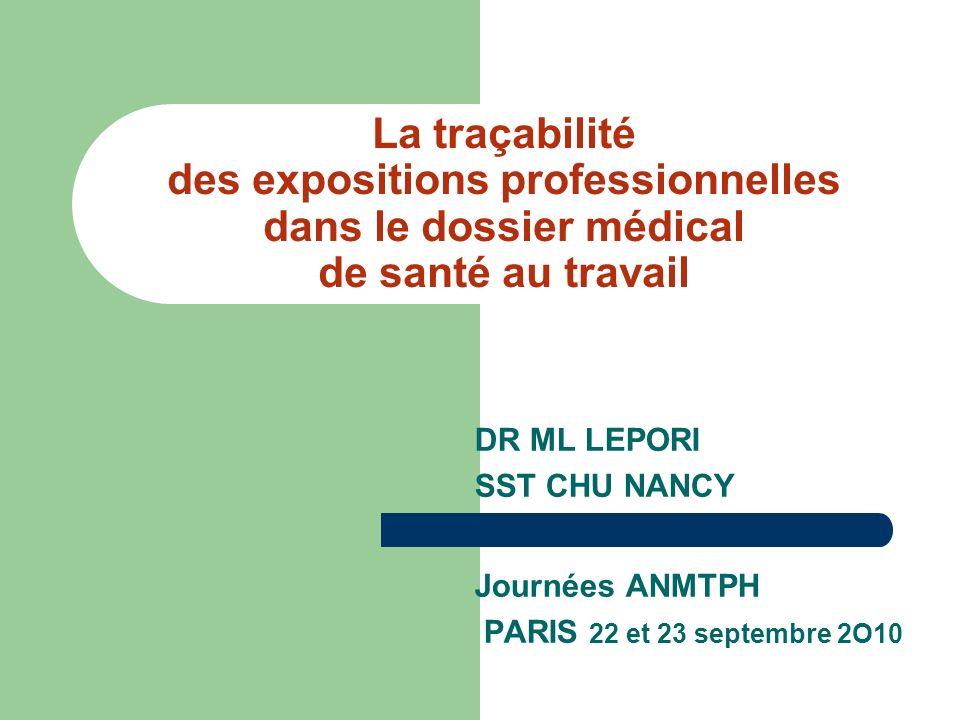 La traçabilité des expositions professionnelles dans le dossier médical de santé au travail DR ML LEPORI SST CHU NANCY Journées ANMTPH PARIS 22 et 23