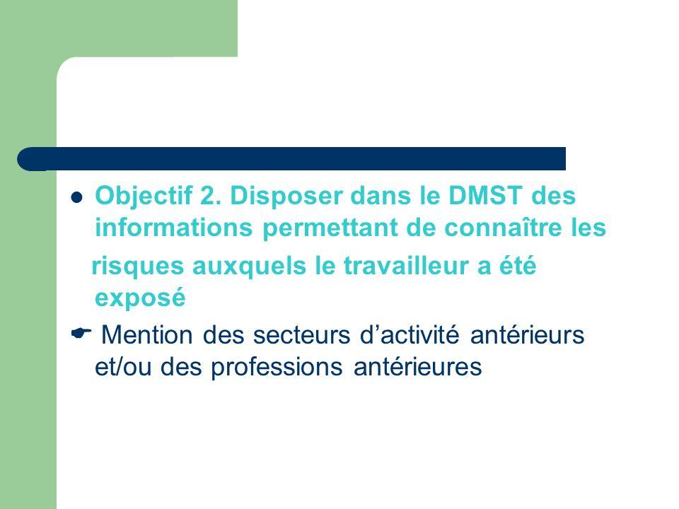 Objectif 2. Disposer dans le DMST des informations permettant de connaître les risques auxquels le travailleur a été exposé Mention des secteurs dacti
