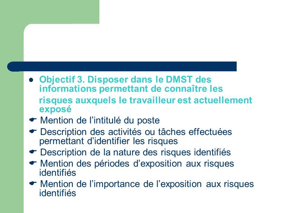 Objectif 3. Disposer dans le DMST des informations permettant de connaître les risques auxquels le travailleur est actuellement exposé Mention de lint