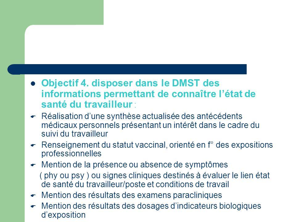 Objectif 4. disposer dans le DMST des informations permettant de connaître létat de santé du travailleur : Réalisation dune synthèse actualisée des an