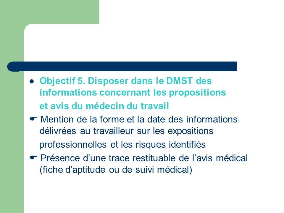 Objectif 5. Disposer dans le DMST des informations concernant les propositions et avis du médecin du travail Mention de la forme et la date des inform