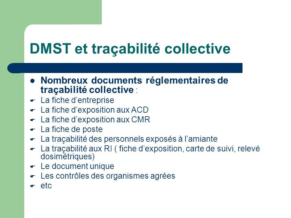 DMST et traçabilité collective Nombreux documents réglementaires de traçabilité collective : La fiche dentreprise La fiche dexposition aux ACD La fich