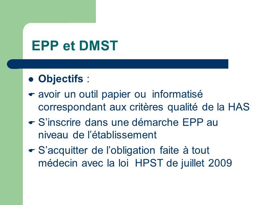 EPP et DMST Objectifs : avoir un outil papier ou informatisé correspondant aux critères qualité de la HAS Sinscrire dans une démarche EPP au niveau de