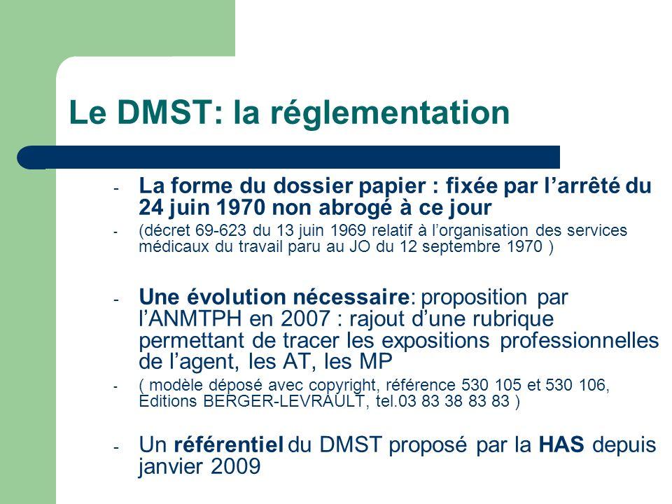 Le DMST: la réglementation - La forme du dossier papier : fixée par larrêté du 24 juin 1970 non abrogé à ce jour - (décret 69-623 du 13 juin 1969 rela