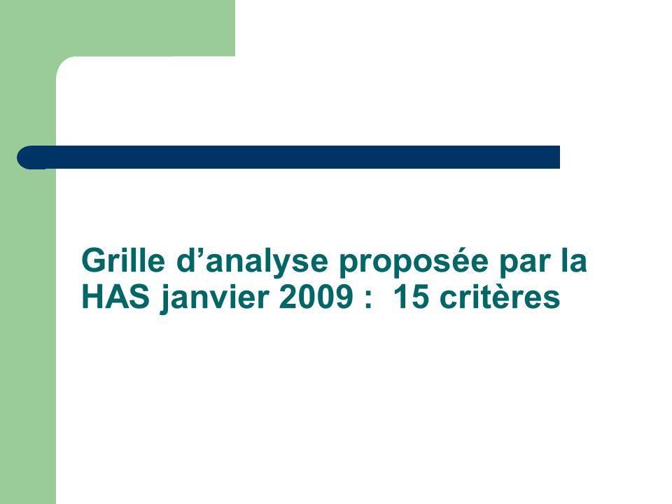Grille danalyse proposée par la HAS janvier 2009 : 15 critères