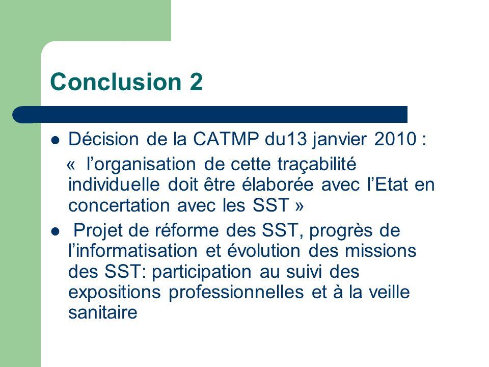 Conclusion 2 Décision de la CATMP du13 janvier 2010 : « lorganisation de cette traçabilité individuelle doit être élaborée avec lEtat en concertation