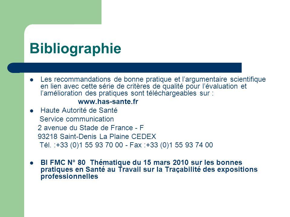Bibliographie Les recommandations de bonne pratique et largumentaire scientifique en lien avec cette série de critères de qualité pour lévaluation et