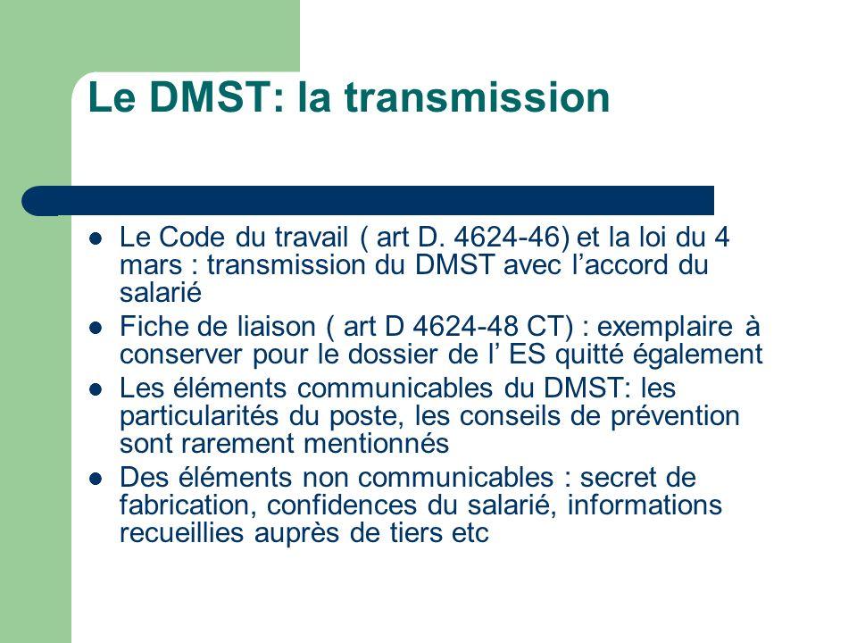 Le DMST: la transmission Le Code du travail ( art D. 4624-46) et la loi du 4 mars : transmission du DMST avec laccord du salarié Fiche de liaison ( ar