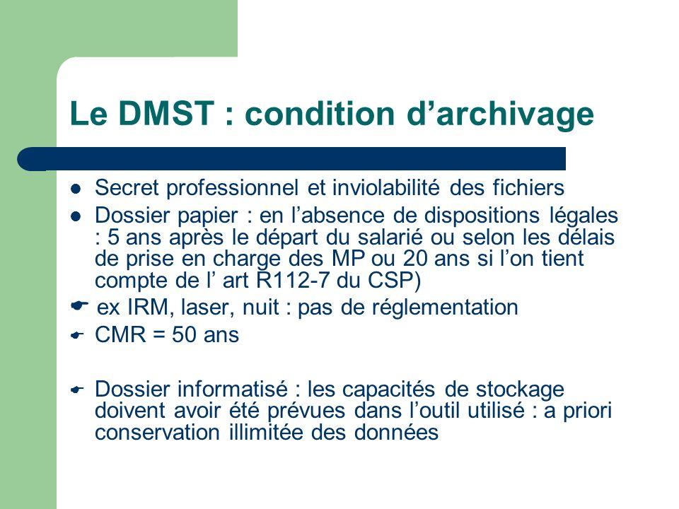 Le DMST : condition darchivage Secret professionnel et inviolabilité des fichiers Dossier papier : en labsence de dispositions légales : 5 ans après l
