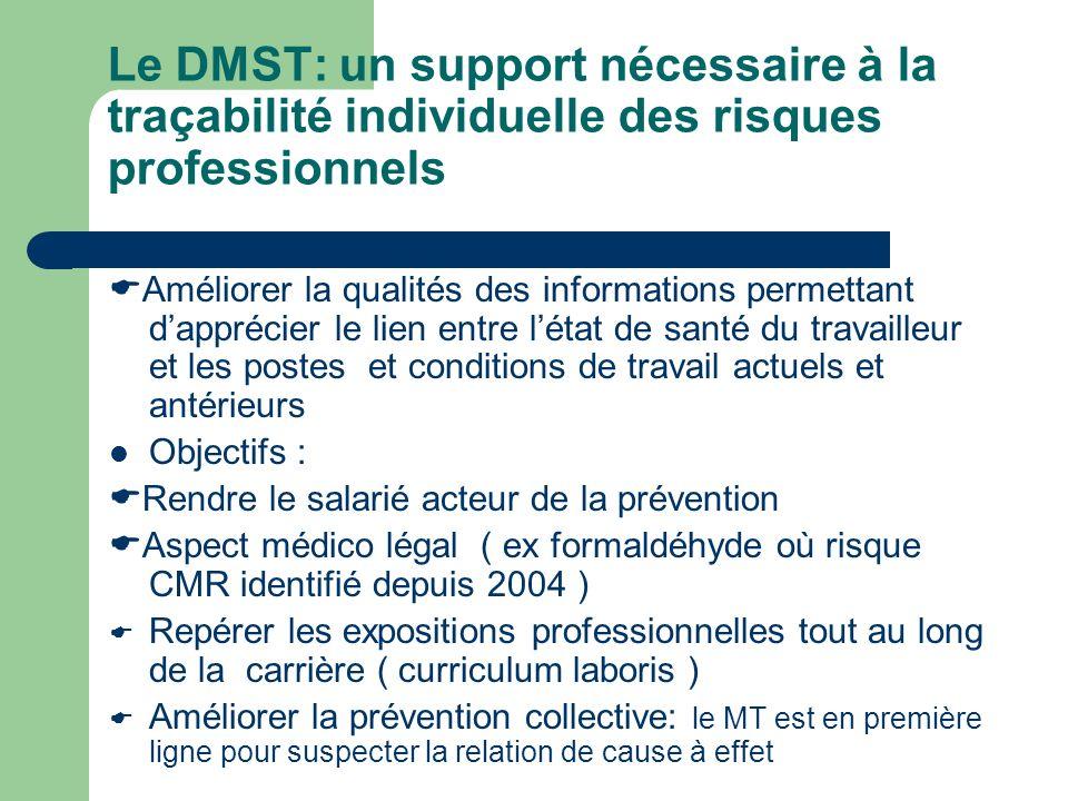 Le DMST: un support nécessaire à la traçabilité individuelle des risques professionnels Améliorer la qualités des informations permettant dapprécier l