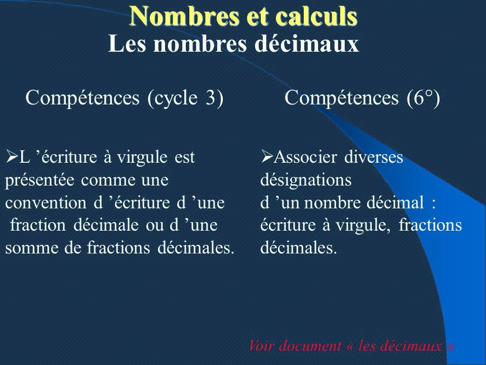 Compétences (cycle 3) Les nombres décimaux Compétences (6°) Associer diverses désignations d un nombre décimal : écriture à virgule, fractions décimal