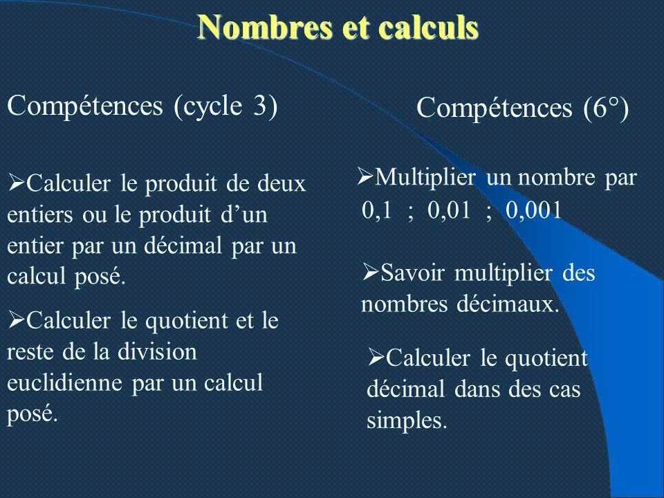 Nombres et calculs Compétences (cycle 3) Compétences (6°) Calculer le produit de deux entiers ou le produit dun entier par un décimal par un calcul po