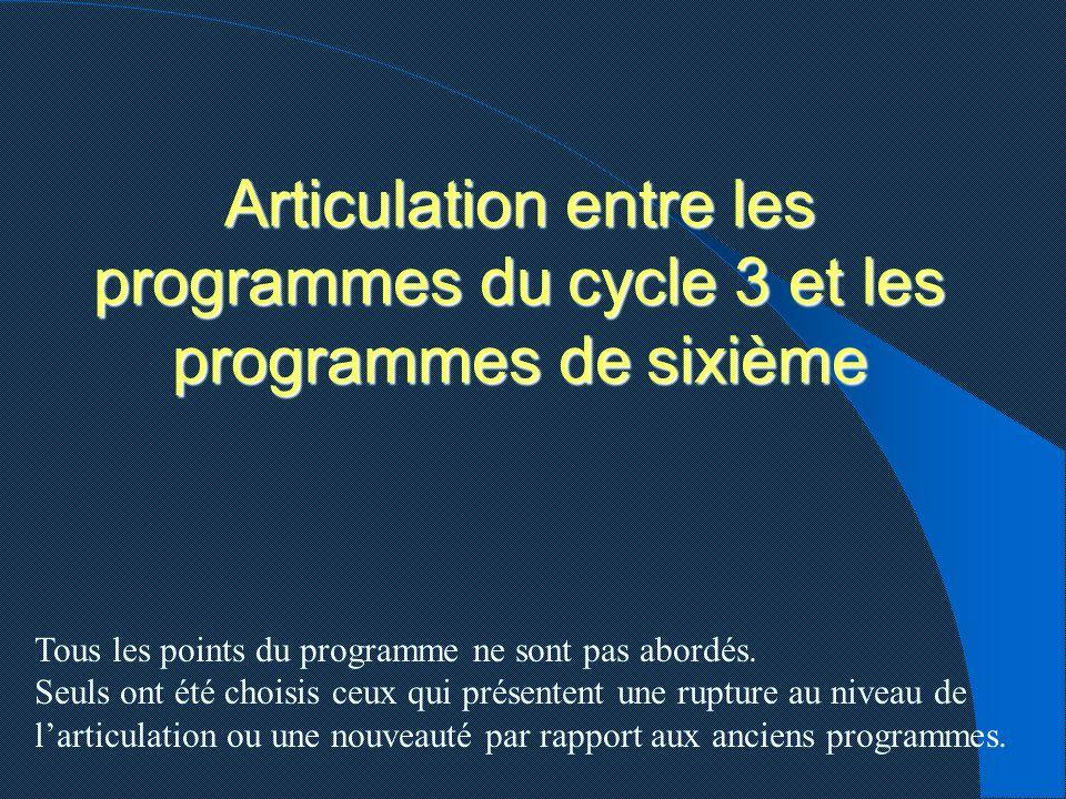 Articulation entre les programmes du cycle 3 et les programmes de sixième Tous les points du programme ne sont pas abordés. Seuls ont été choisis ceux