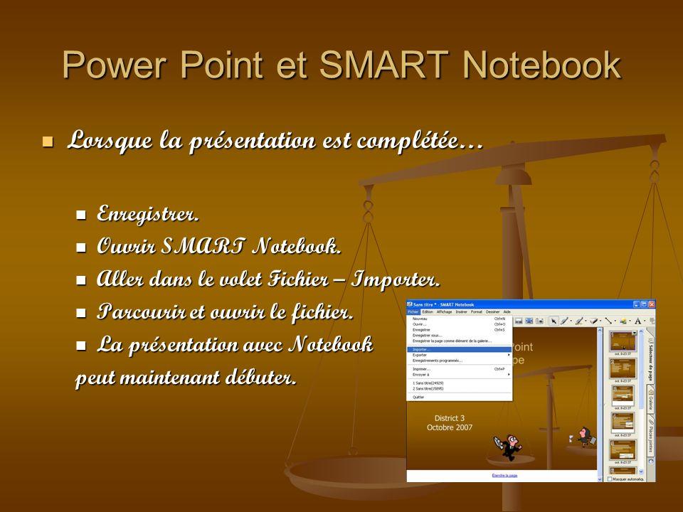 Power Point et SMART Notebook Lorsque la présentation est complétée… Lorsque la présentation est complétée… Enregistrer. Enregistrer. Ouvrir SMART Not