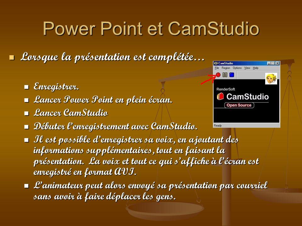Power Point et CamStudio Lorsque la présentation est complétée… Lorsque la présentation est complétée… Enregistrer. Enregistrer. Lancer Power Point en
