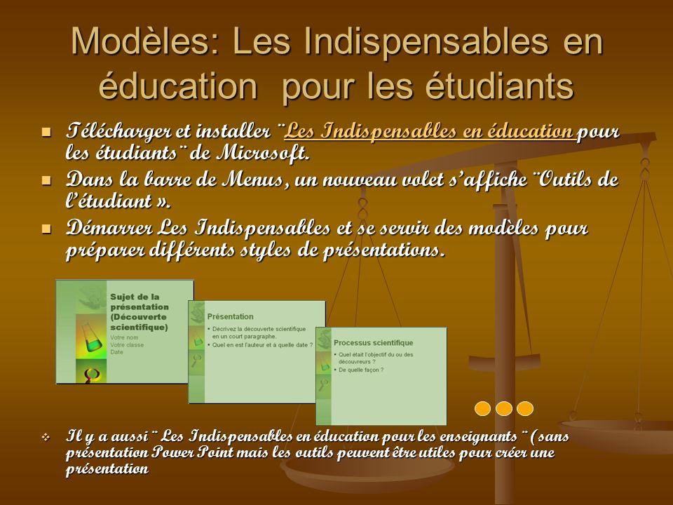 Modèles: Les Indispensables en éducation pour les étudiants Télécharger et installer ¨Les Indispensables en éducation pour les étudiants¨ de Microsoft
