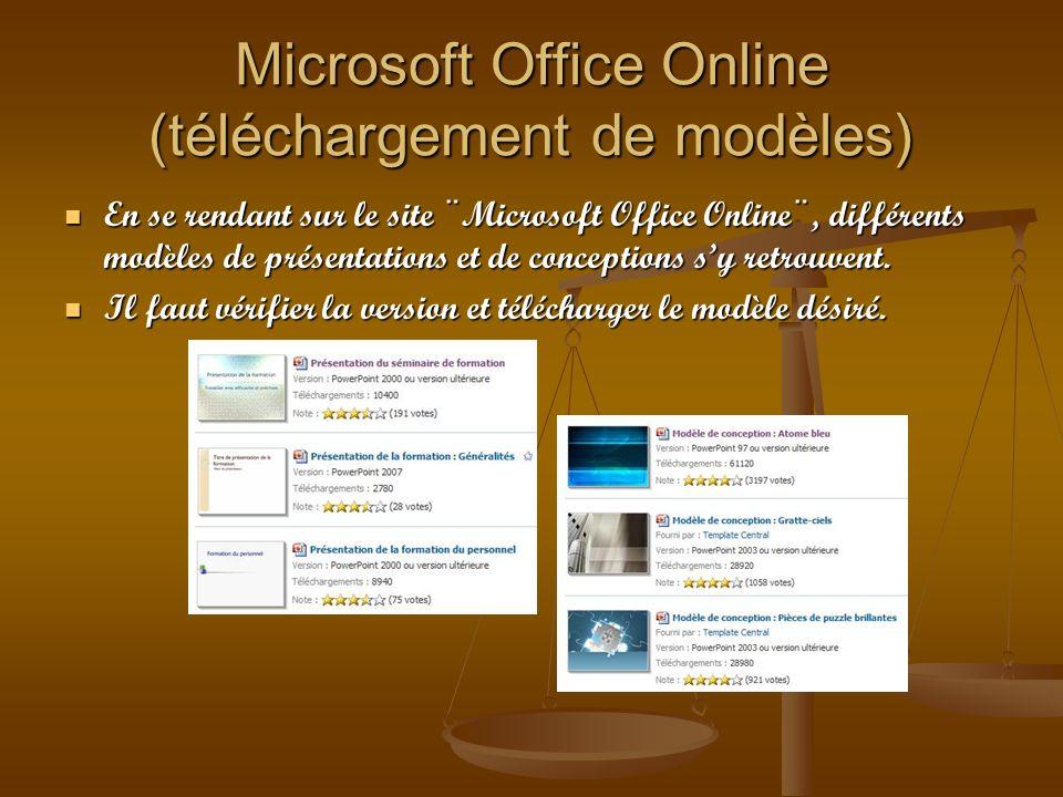 Microsoft Office Online (téléchargement de modèles) En se rendant sur le site ¨Microsoft Office Online¨, différents modèles de présentations et de con