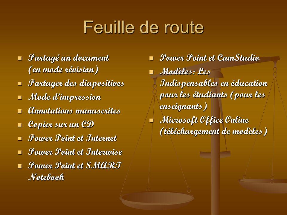 Feuille de route Partagé un document (en mode révision) Partagé un document (en mode révision) Partager des diapositives Partager des diapositives Mod