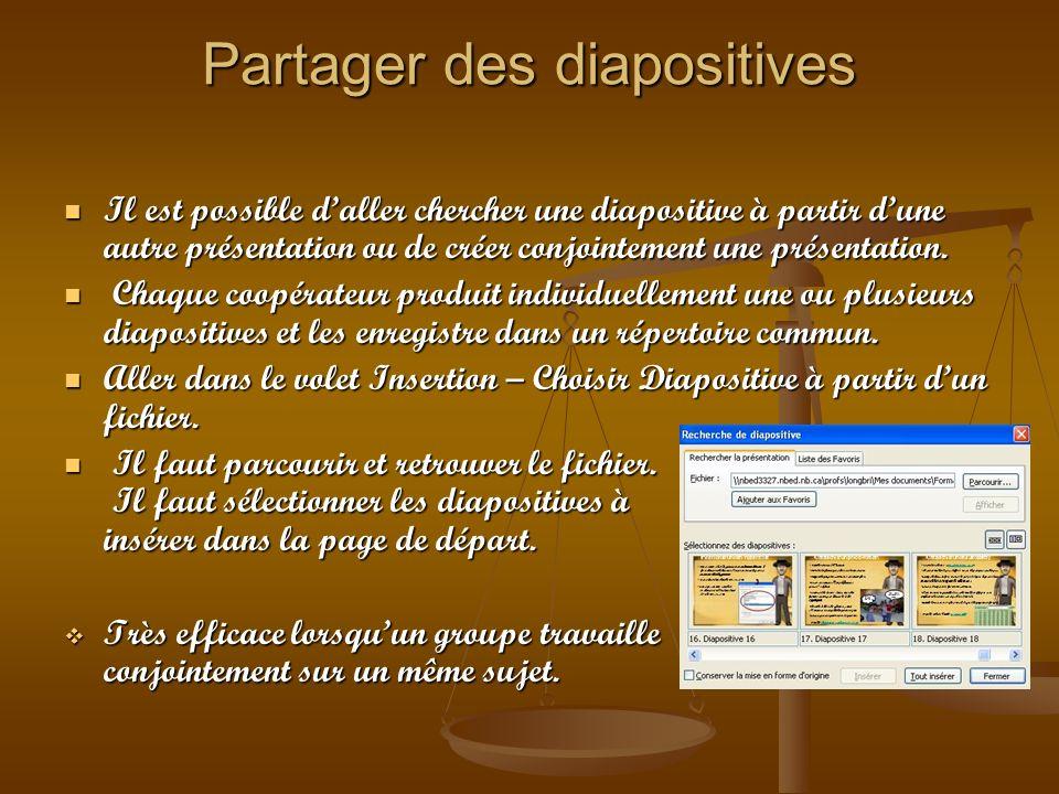 Partager des diapositives Il est possible daller chercher une diapositive à partir dune autre présentation ou de créer conjointement une présentation.