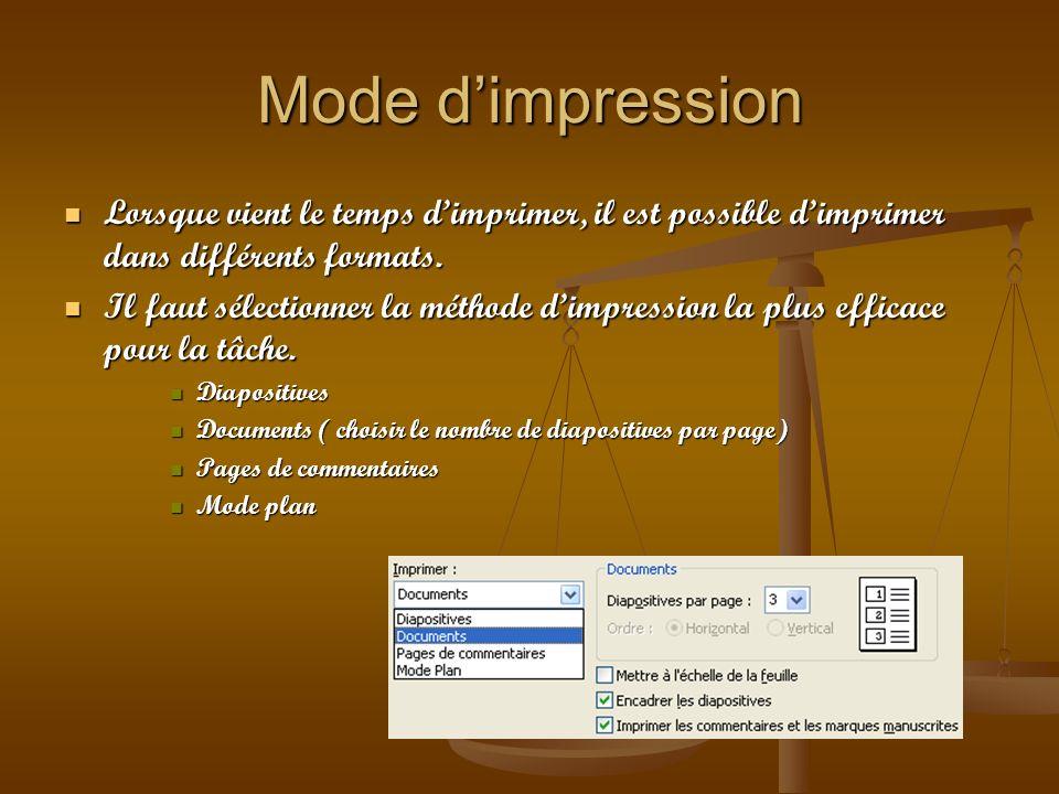 Mode dimpression Lorsque vient le temps dimprimer, il est possible dimprimer dans différents formats. Lorsque vient le temps dimprimer, il est possibl