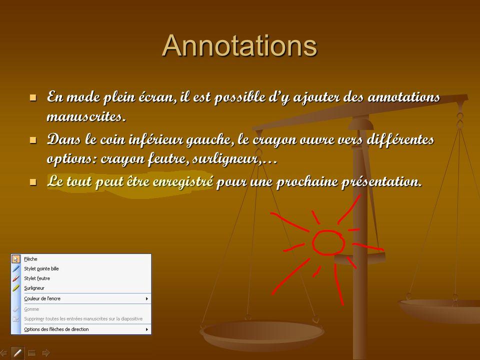 Annotations En mode plein écran, il est possible dy ajouter des annotations manuscrites. En mode plein écran, il est possible dy ajouter des annotatio
