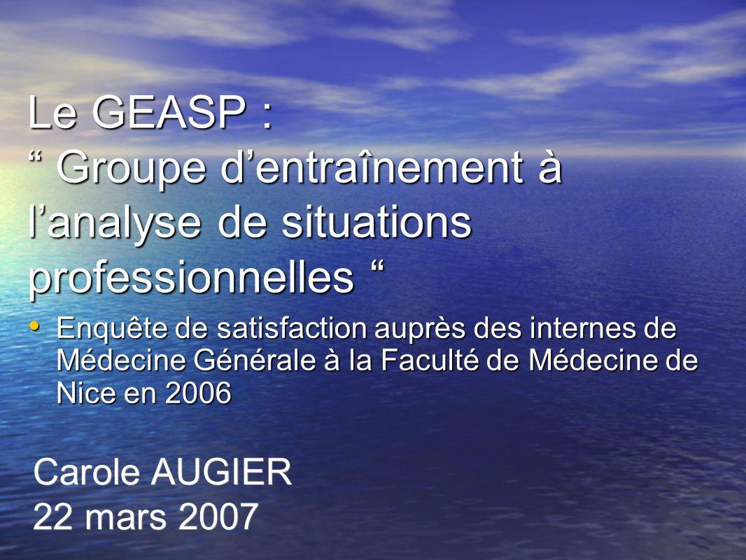 Le GEASP : Groupe dentraînement à lanalyse de situations professionnelles Le GEASP : Groupe dentraînement à lanalyse de situations professionnelles En