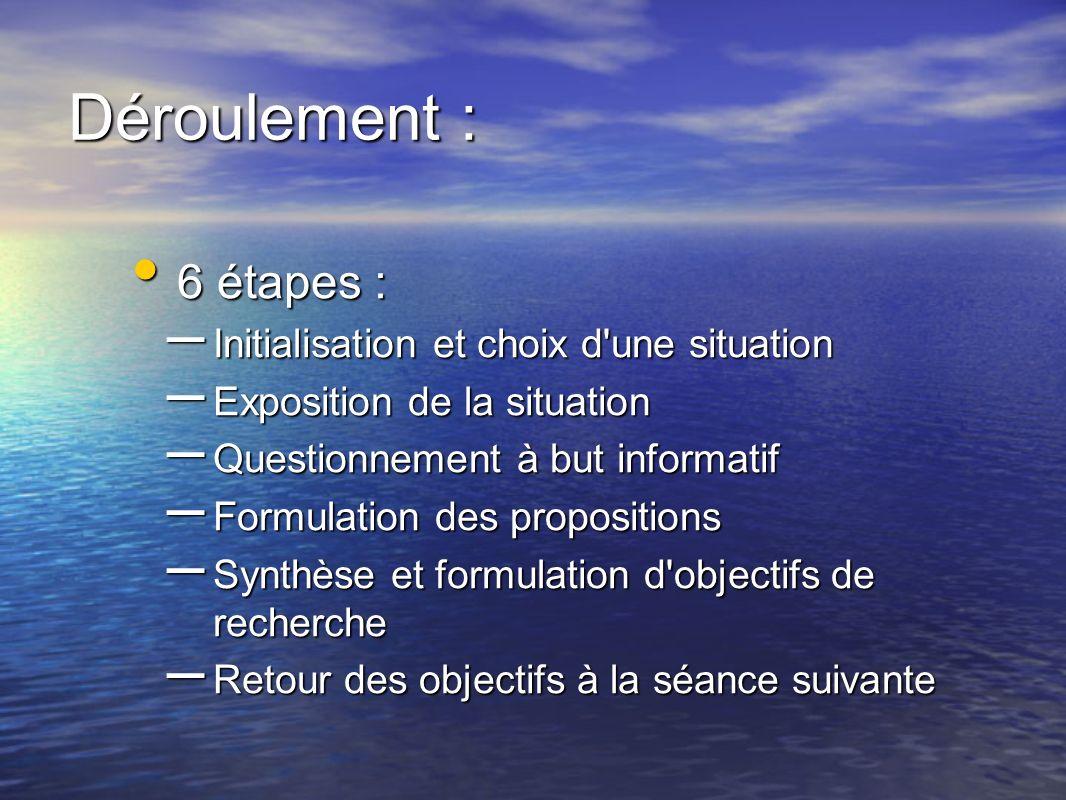 Déroulement : 6 étapes : 6 étapes : – Initialisation et choix d'une situation – Exposition de la situation – Questionnement à but informatif – Formula