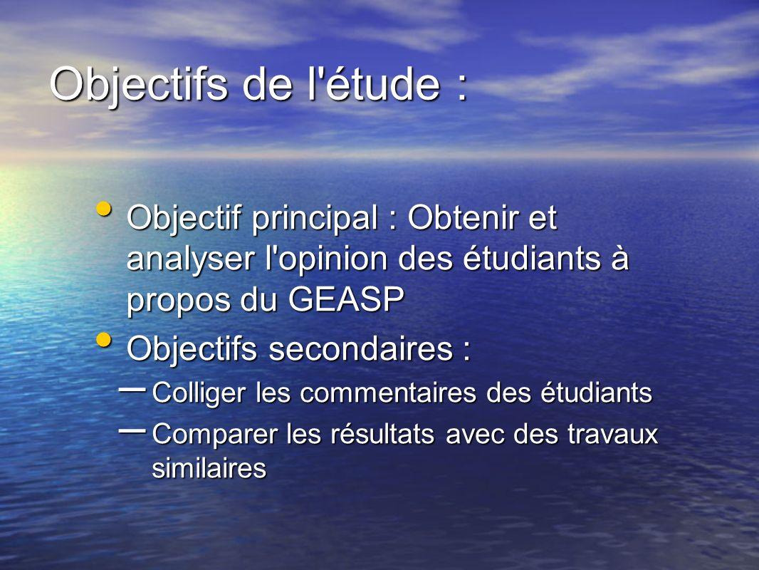 Objectifs de l'étude : Objectif principal : Obtenir et analyser l'opinion des étudiants à propos du GEASP Objectif principal : Obtenir et analyser l'o