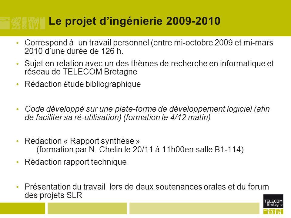 Le projet dingénierie 2009-2010 Correspond à un travail personnel (entre mi-octobre 2009 et mi-mars 2010 dune durée de 126 h. Sujet en relation avec u