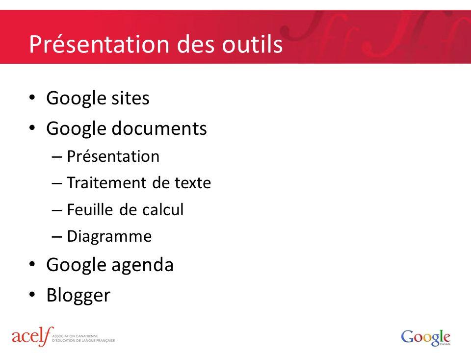 Présentation des outils Google sites Google documents – Présentation – Traitement de texte – Feuille de calcul – Diagramme Google agenda Blogger