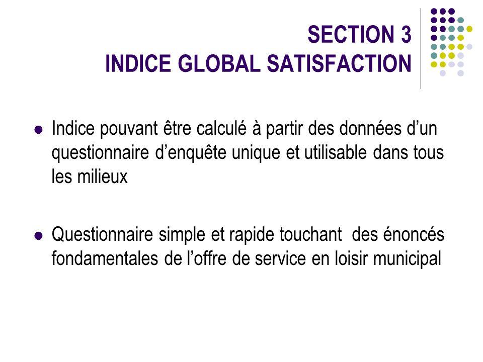 SECTION 3 INDICE GLOBAL SATISFACTION Indice pouvant être calculé à partir des données dun questionnaire denquête unique et utilisable dans tous les mi