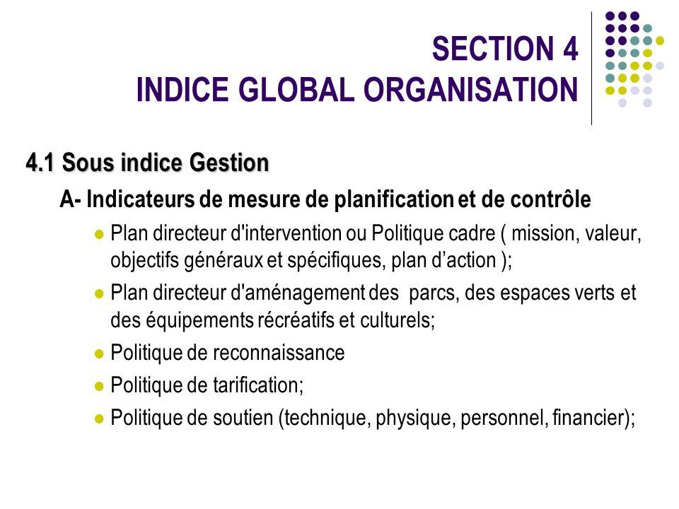 SECTION 4 INDICE GLOBAL ORGANISATION 4.1 Sous indice Gestion A- Indicateurs de mesure de planification et de contrôle Plan directeur d'intervention ou