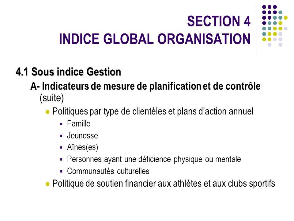 SECTION 4 INDICE GLOBAL ORGANISATION 4.1 Sous indice Gestion A- Indicateurs de mesure de planification et de contrôle (suite) Politiques par type de c