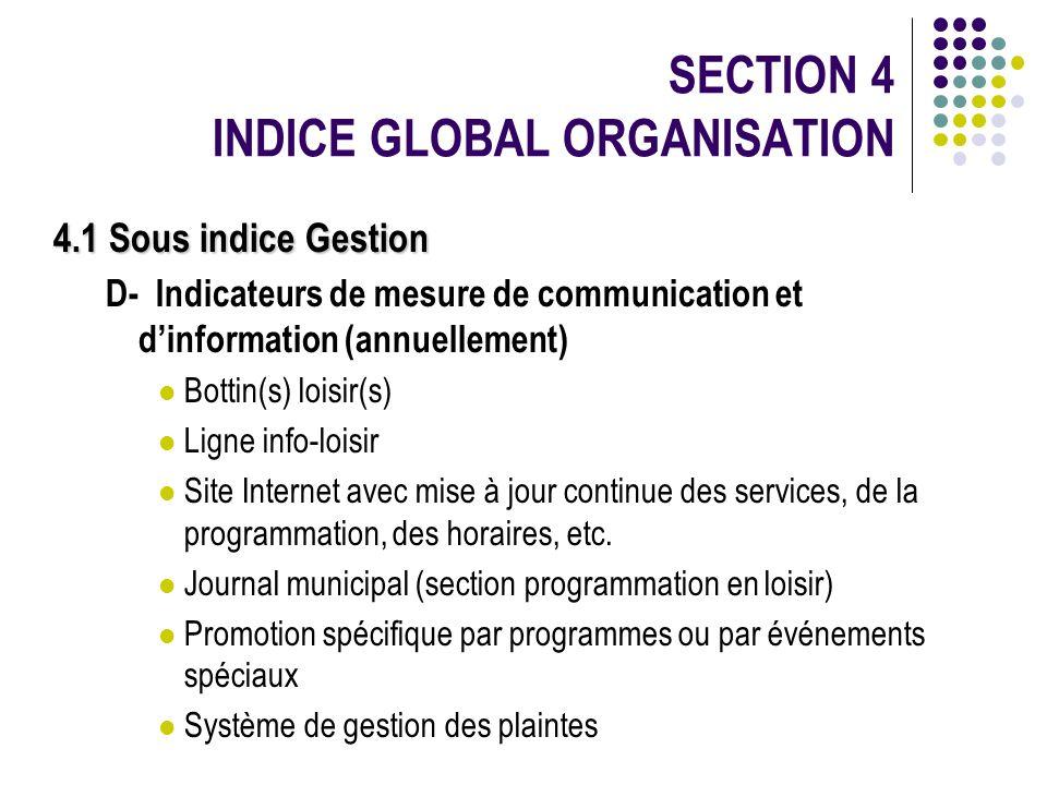 4.1 Sous indice Gestion D- Indicateurs de mesure de communication et dinformation (annuellement) Bottin(s) loisir(s) Ligne info-loisir Site Internet a