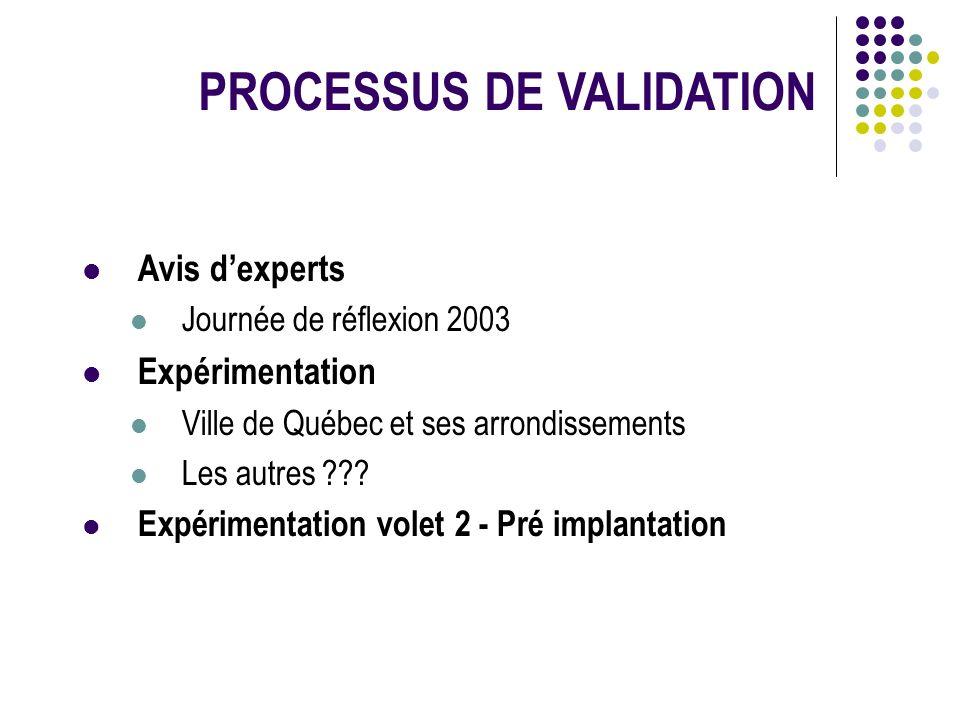 PROCESSUS DE VALIDATION Avis dexperts l Journée de réflexion 2003 l Expérimentation l Ville de Québec et ses arrondissements l Les autres ??? l Expéri