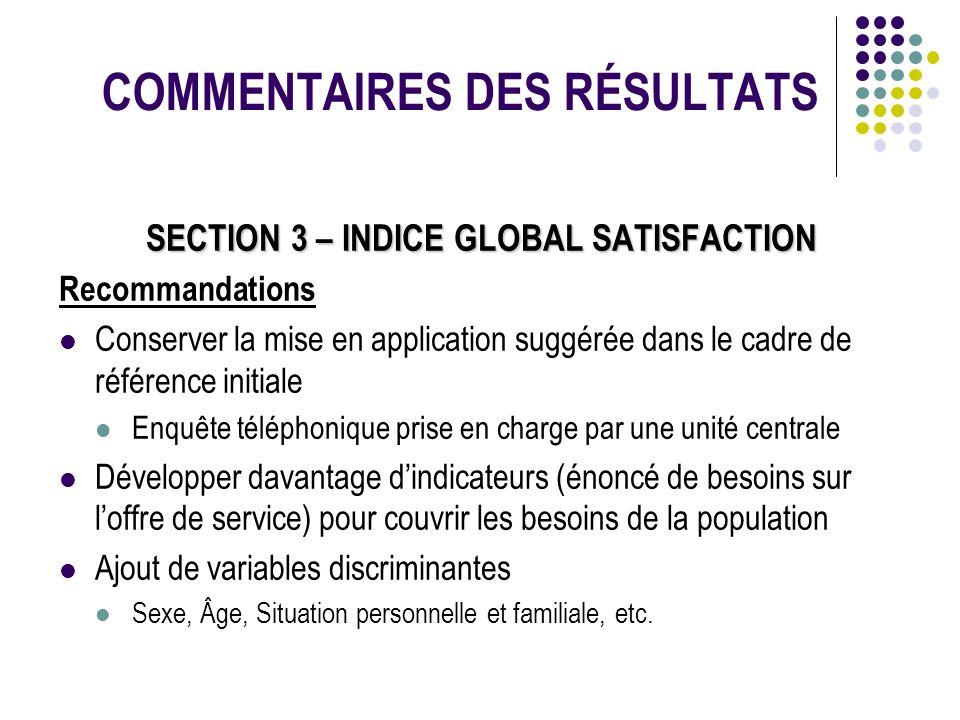 COMMENTAIRES DES RÉSULTATS SECTION 3 – INDICE GLOBAL SATISFACTION Recommandations Conserver la mise en application suggérée dans le cadre de référence