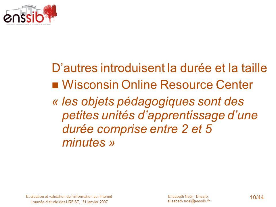 Elisabeth Noël - Enssib, elisabeth.noel@enssib.fr Evaluation et validation de linformation sur Internet Journée détude des URFIST, 31 janvier 2007 10/