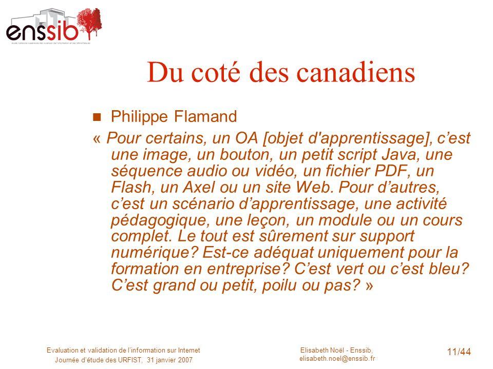 Elisabeth Noël - Enssib, elisabeth.noel@enssib.fr Evaluation et validation de linformation sur Internet Journée détude des URFIST, 31 janvier 2007 11/