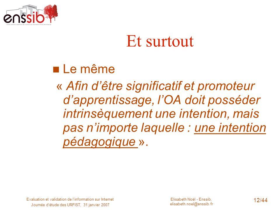 Elisabeth Noël - Enssib, elisabeth.noel@enssib.fr Evaluation et validation de linformation sur Internet Journée détude des URFIST, 31 janvier 2007 12/