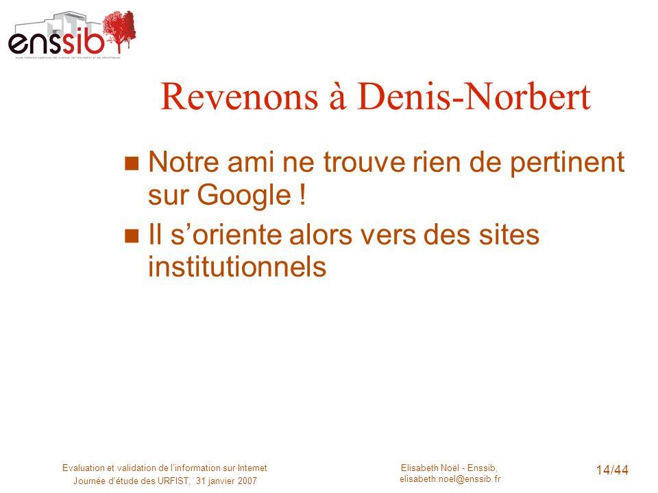 Elisabeth Noël - Enssib, elisabeth.noel@enssib.fr Evaluation et validation de linformation sur Internet Journée détude des URFIST, 31 janvier 2007 14/