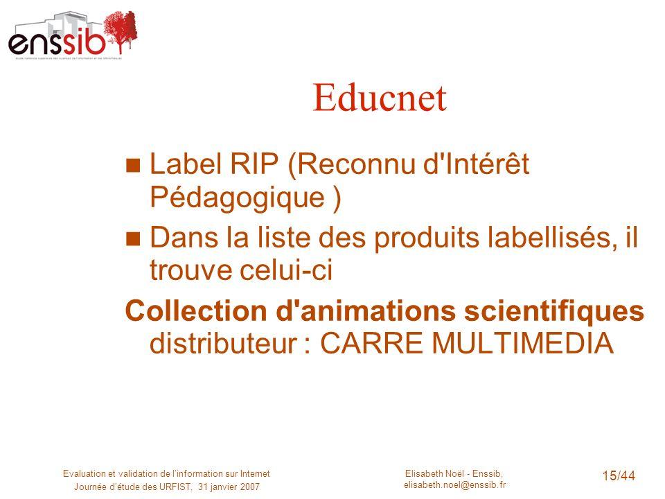 Elisabeth Noël - Enssib, elisabeth.noel@enssib.fr Evaluation et validation de linformation sur Internet Journée détude des URFIST, 31 janvier 2007 15/