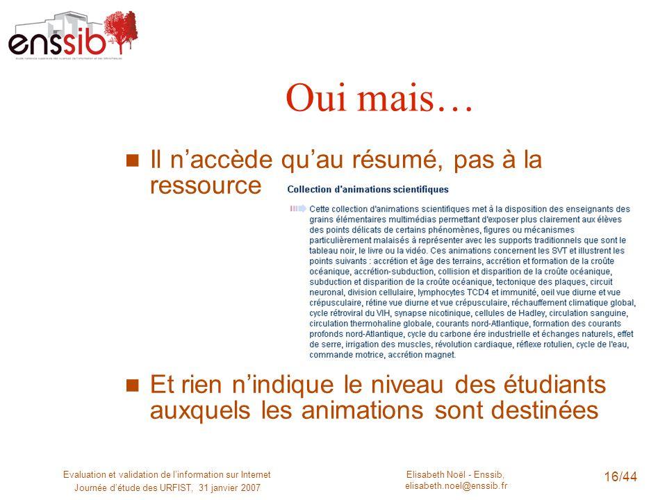 Elisabeth Noël - Enssib, elisabeth.noel@enssib.fr Evaluation et validation de linformation sur Internet Journée détude des URFIST, 31 janvier 2007 16/