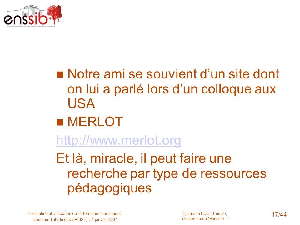 Elisabeth Noël - Enssib, elisabeth.noel@enssib.fr Evaluation et validation de linformation sur Internet Journée détude des URFIST, 31 janvier 2007 18/44