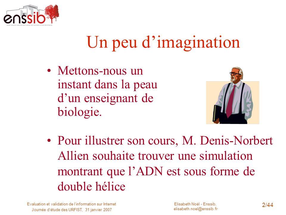 Elisabeth Noël - Enssib, elisabeth.noel@enssib.fr Evaluation et validation de linformation sur Internet Journée détude des URFIST, 31 janvier 2007 2/4