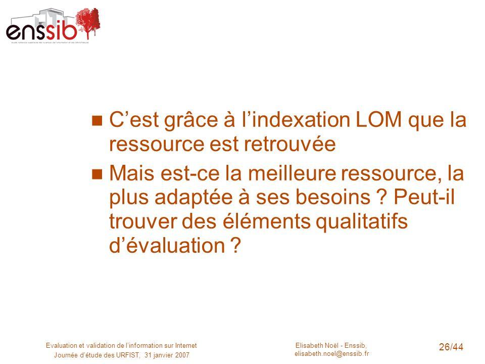 Elisabeth Noël - Enssib, elisabeth.noel@enssib.fr Evaluation et validation de linformation sur Internet Journée détude des URFIST, 31 janvier 2007 26/