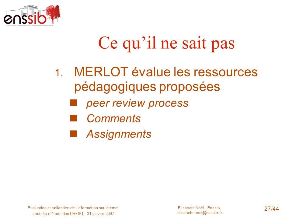 Elisabeth Noël - Enssib, elisabeth.noel@enssib.fr Evaluation et validation de linformation sur Internet Journée détude des URFIST, 31 janvier 2007 28/44