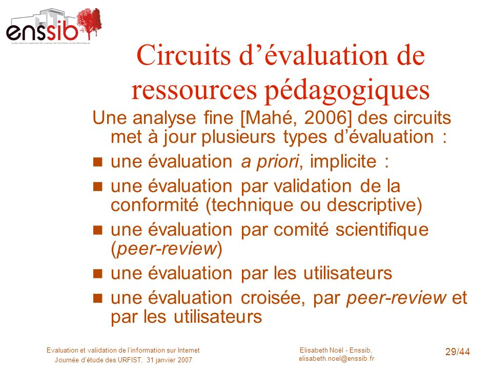 Elisabeth Noël - Enssib, elisabeth.noel@enssib.fr Evaluation et validation de linformation sur Internet Journée détude des URFIST, 31 janvier 2007 30/44 Quels critères dévaluation .
